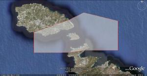 The extent of the new Marine Important Bird Area, which includes the island of Comino. Image from Google Earth.