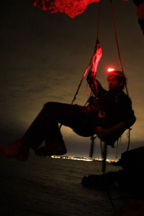 Researcher Antonio Vilches on his nocturnal abseiling to the Yelkouan Shearwater nesting site.